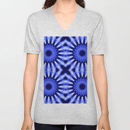 Blue Flowers Mandala Pattern Unisex V-Neck
