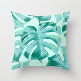 Tropical Monstera Leaves Dream #4 #tropical #decor #art #society6 Throw Pillow