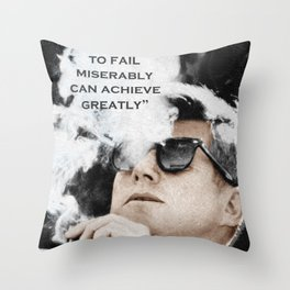 John F Kennedy Cigar and Sunglasses 3 And Quote Throw Pillow