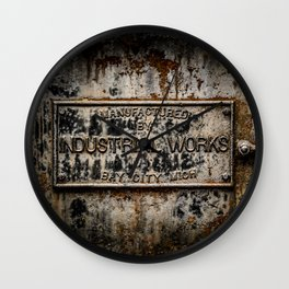 Name Plate Bay City Industrial Works Wreck Crane Train Manufacturer Railroad Rust Wall Clock