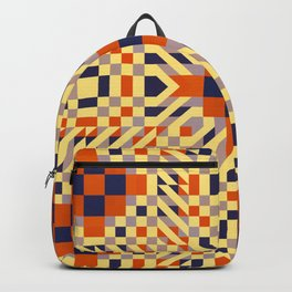 KEIKI retro pale yellow, orange, navy blue interesting pattern Backpack