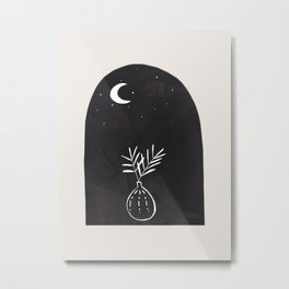 Abstract Minimalist Modern Mid century Black Ink Paper Collage Line Drawing Plant Vase Moon Night Sky by Ejaaz Haniff Metal Print
