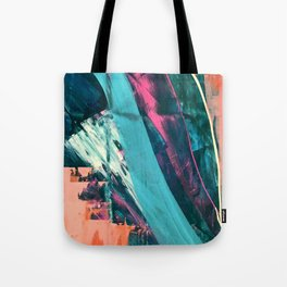 Wild [7]: a bold, colorful abstract mixed-media piece in teal, orange, neon blue, pink and white Tote Bag