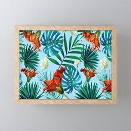 Sky blue tropical floral Framed Mini Art Print
