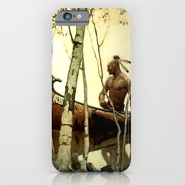 "N C Wyeth Vintage Western Painting ""Birchbark Canoe"" iPhone Case"