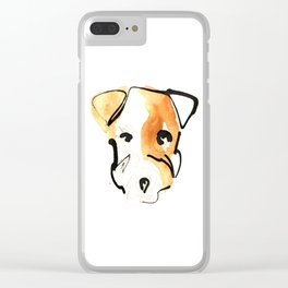 Black Ink and Watercolor Jack Russell Terrier Dog Clear iPhone Case