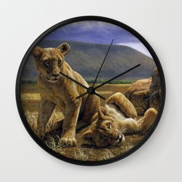 African Lion Cubs Wall Clock