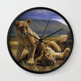 African Lion Cubs Wall Clock