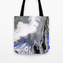 Blue,Black and Silver Fluid Acrylic Painting Abstract Design Tote Bag