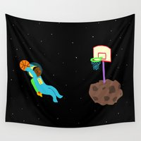 basketball Wall Tapestries featuring Space Basketball by Emma Shepherd