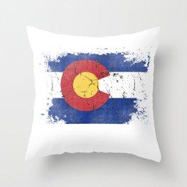 Colorado State Flag Design Rocky Mountains Souvenir Image Throw Pillow