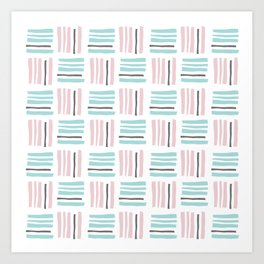 Stripes×Checkered Pattern_Mint Green&Pink&Gray Art Print