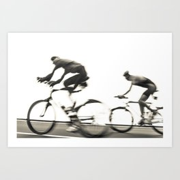 Cyclists in Black And White Art Print