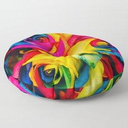 Rainbow Roses Floor Pillow