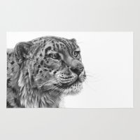 snow leopard Area & Throw Rugs featuring Snow Leopard G095 by S-Schukina