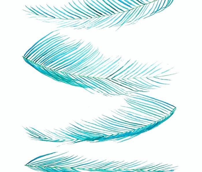 falling palm leaves watercolor Metal Travel Mug