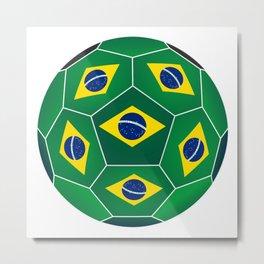Ball with Brazilian flag Metal Print