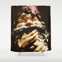 gnome Shower Curtains featuring Cutout Gnome by Austin D.