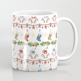 Folksy Holiday Stripes of Christmas Stockings Candy Canes Star Lights Snowman Coffee Mug