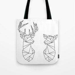 Geometric Stag and Doe (Black on White) Tote Bag