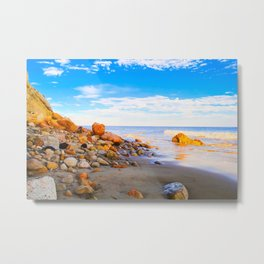 sandy beach with blue cloudy sky in summer Metal Print