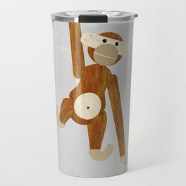 Wood monkey - posters, art prints, prints, gift, illustration, animals, children, nursery, family, f Travel Mug