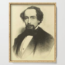 Vintage Charles Dickens Portrait Serving Tray