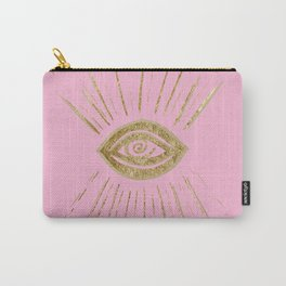 Evil Eye Gold on Pink #1 #drawing #decor #art #society6 Carry-All Pouch