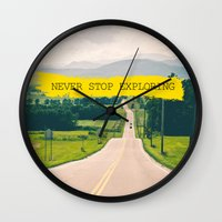 never stop exploring Wall Clocks featuring Never stop exploring by Ale Ibanez