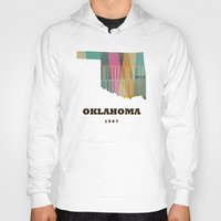 oklahoma Hoodies featuring Oklahoma state map modern  by bri.buckley