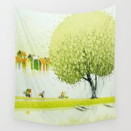 BY THE RIVER-SELLING FLOWERS Wall Tapestry