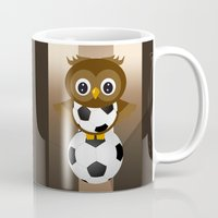 soccer Mugs featuring Soccer Owl by Simone Gatterwe