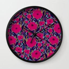 Layered Leaf Floral Fuchsia Wall Clock