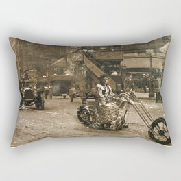 Vintage Bike Lady Rectangular Pillow