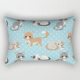Cute Cat Pattern - Light Blue Polka Dots Rectangular Pillow