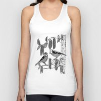 tits Tank Tops featuring Blue Tits and Catkins by LindaWinegum
