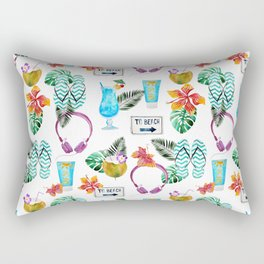 Tropical summer watercolor floral colorful beach pattern Rectangular Pillow