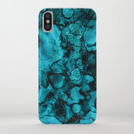 Blue Gemstone and Ink Malachite Glitter Marble iPhone Case