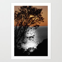 silver gold sunset black and white with color Art Print
