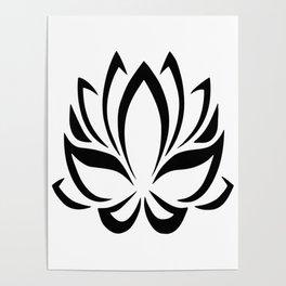 Black and White Lotus Flower Poster