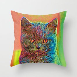AnimalColor_Cat_ 027_by_JAMColors Throw Pillow