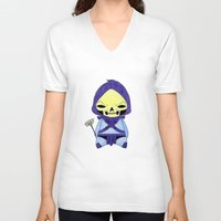 skeletor V-neck T-shirts featuring A Boy - Skeletor by Christophe Chiozzi
