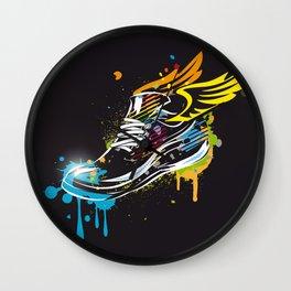 cool sneaker graffiti with wings Wall Clock