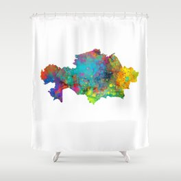 Kazakhstan Watercolor Map Shower Curtain