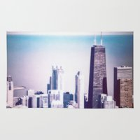 chicago Area & Throw Rugs featuring Chicago by Jon Damaschke