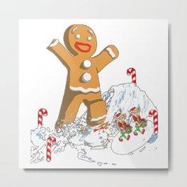 Giant Gingerbread Christmas Metal Print