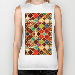 -A32- Epic Colored Traditional Moroccan Artwork. Biker Tank