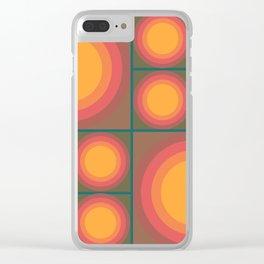 70s Sunflower Brown & Orange Clear iPhone Case