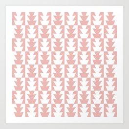 Art Deco Jagged Edge Pattern Dusty Rose Art Print