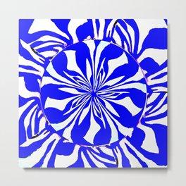 Blue Zebra Kaleidoscope Metal Print